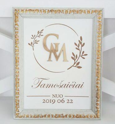 Vestuvinis rėmelis su inicialais